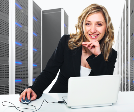 Business Woman working in the cloud